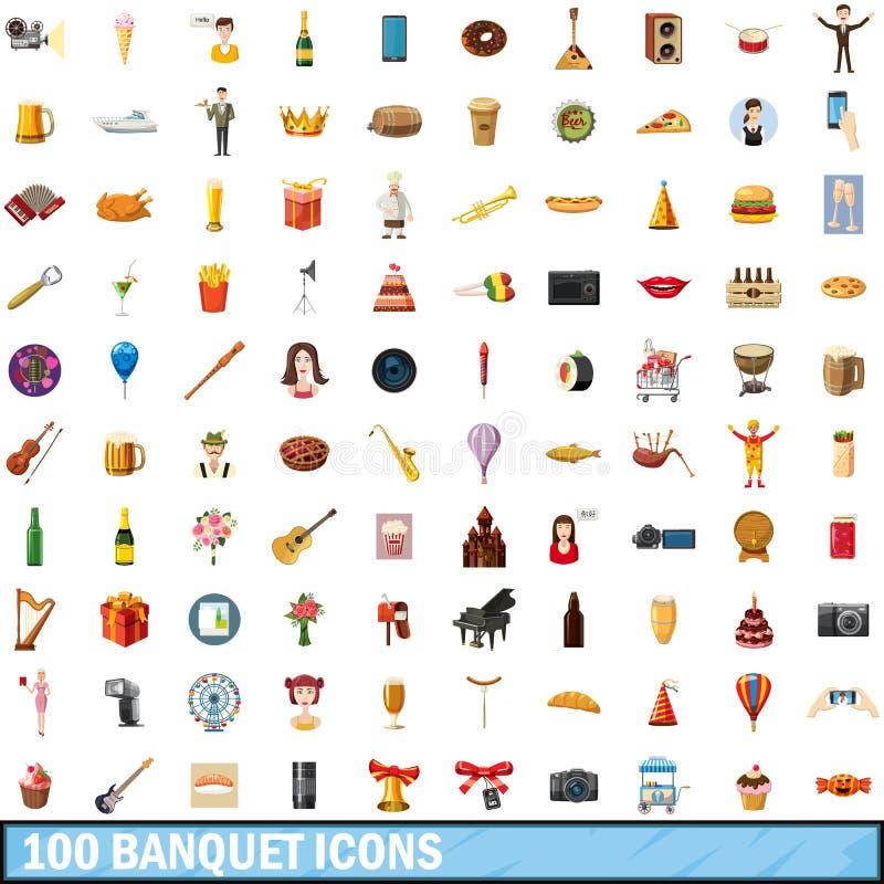 100 icônes de banquet réglées, style de bande dessinée illustration de vecteur