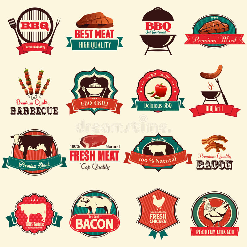 Icônes de barbecue illustration stock