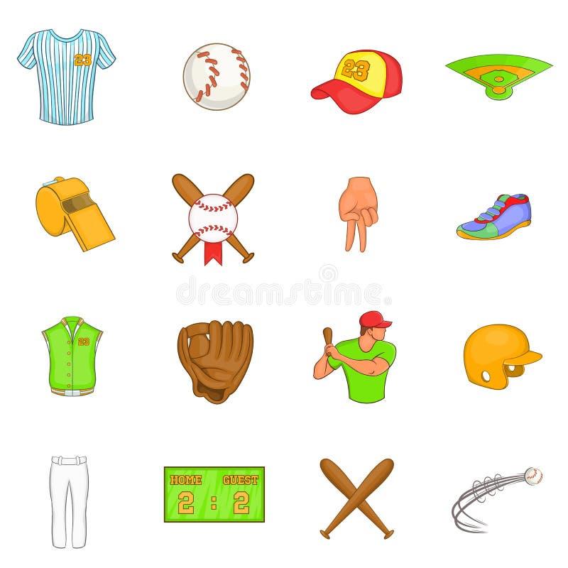 Icônes de base-ball réglées, style de bande dessinée illustration libre de droits
