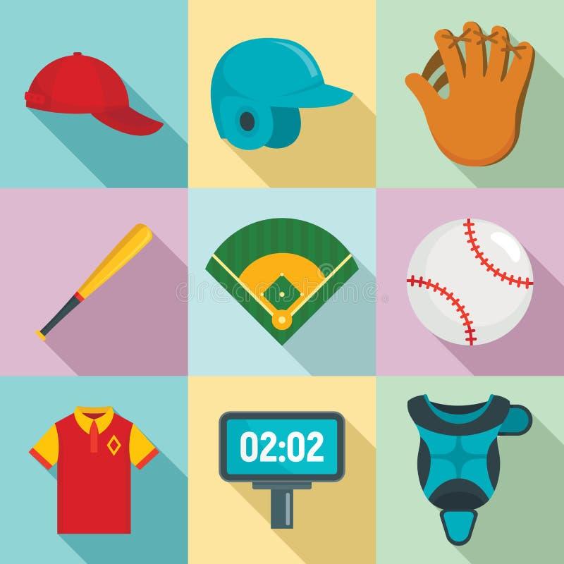 Ic?nes de base-ball r?gl?es, style plat illustration stock