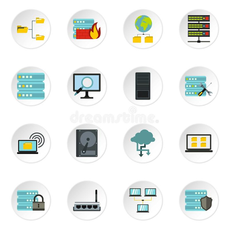 Icônes de base de données réglées, style plat illustration de vecteur