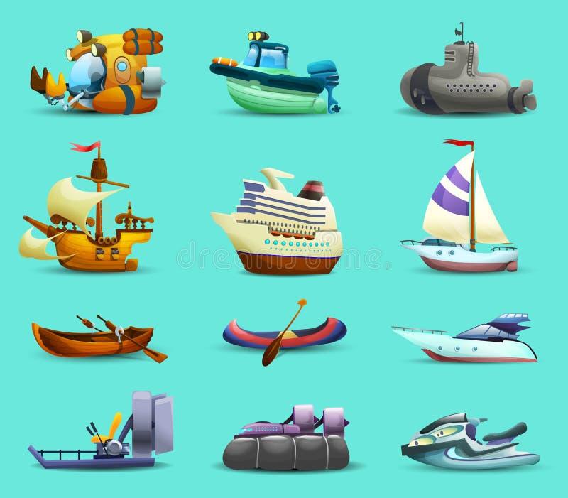 Icônes de bateaux et de bateaux réglées illustration stock