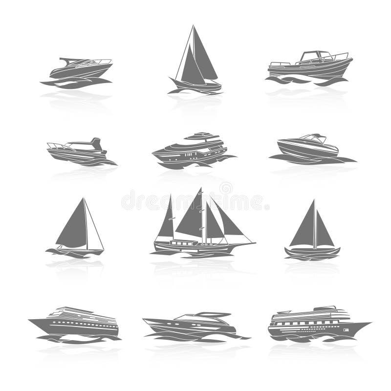 Icônes de bateaux réglées illustration de vecteur