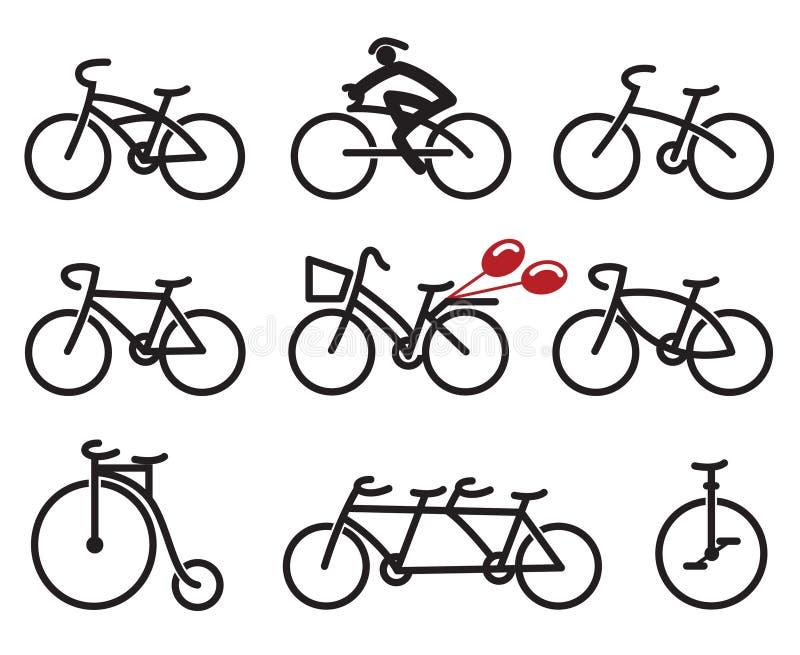 Icônes de bicyclettes réglées illustration de vecteur