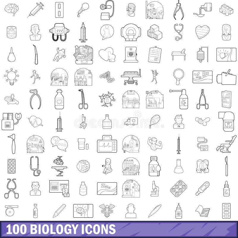 100 icônes de biologie réglées, style d'ensemble illustration stock