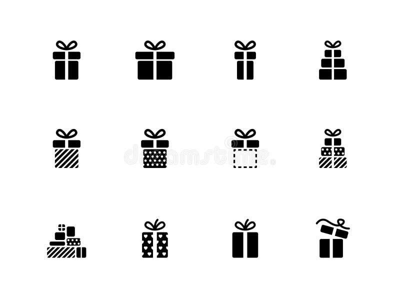 Icônes de boîte-cadeau sur le fond blanc. illustration de vecteur