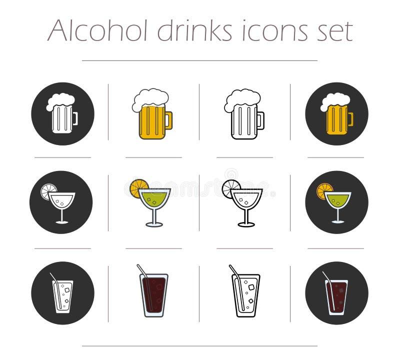 Icônes de boissons alcoolisées réglées illustration stock