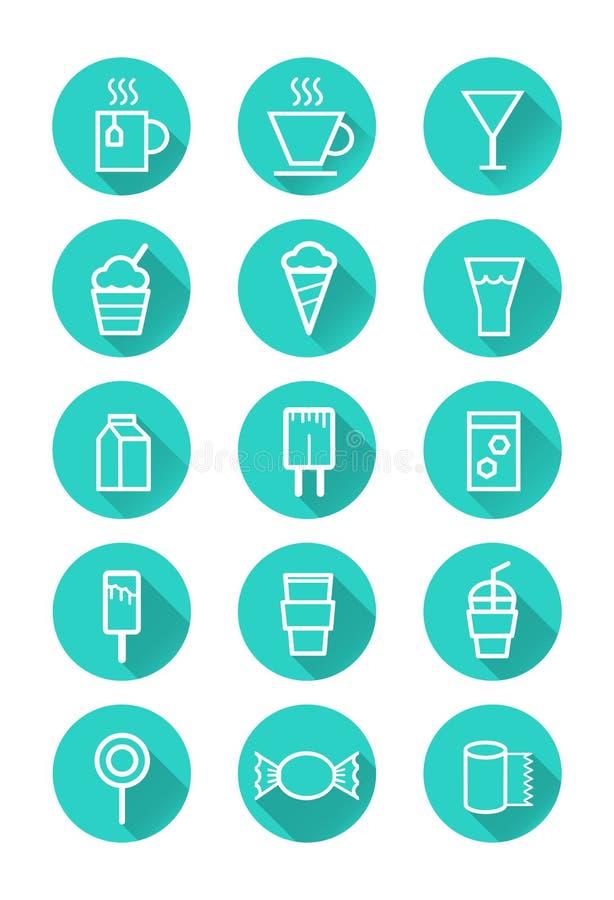 Icônes de boissons et de bonbons illustration de vecteur