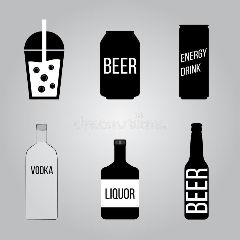 Icônes de boissons réglées illustration de vecteur