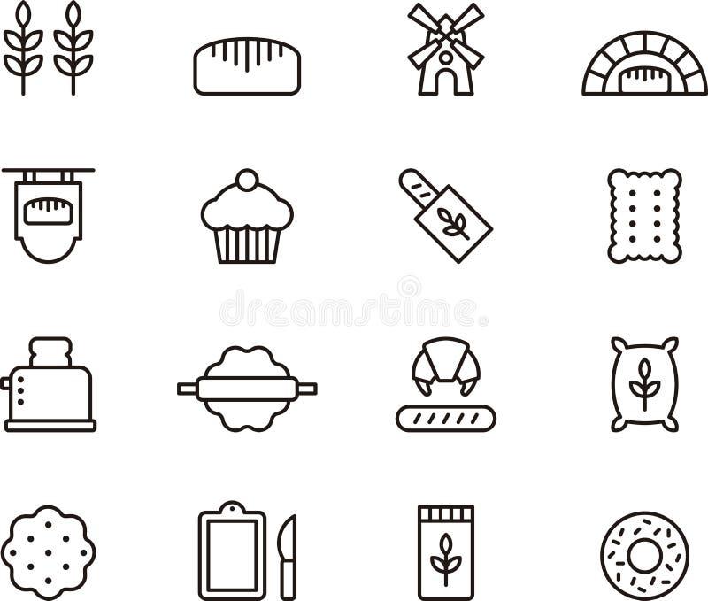 Icônes de boulangerie illustration stock
