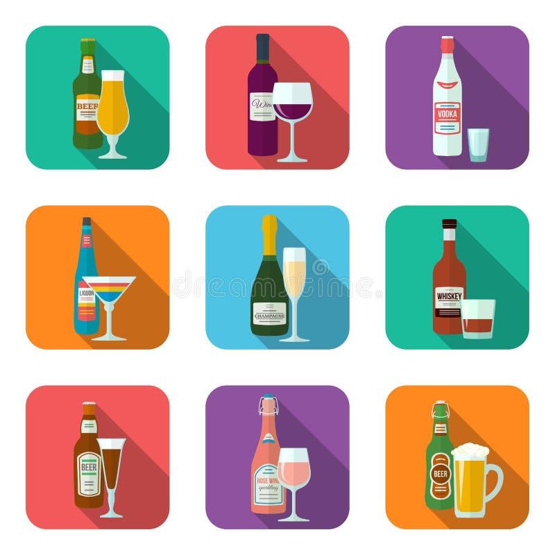Icônes de bouteilles et en verre d'alcool réglées illustration de vecteur