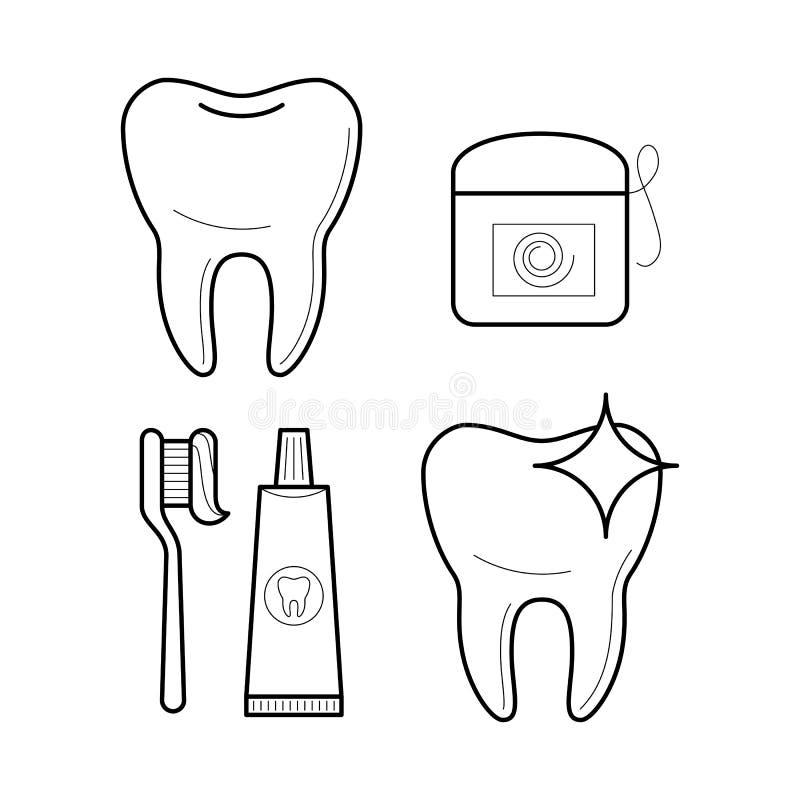 Icônes de brosse à dents, de pâte dentifrice et de soie illustration libre de droits