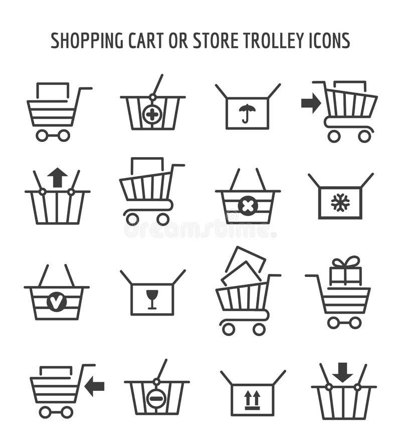 Icônes de caddie pour le commerce électronique de Web illustration libre de droits