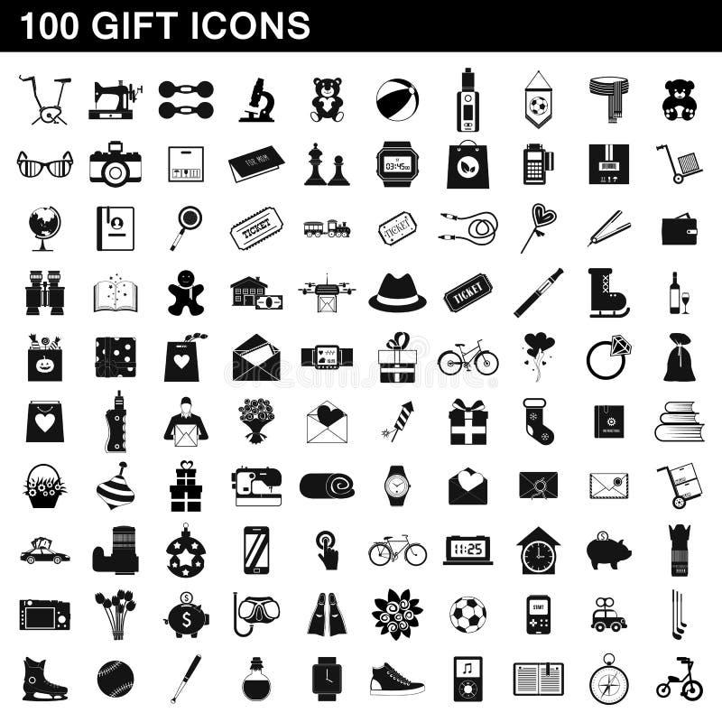 100 icônes de cadeau réglées, style simple illustration libre de droits