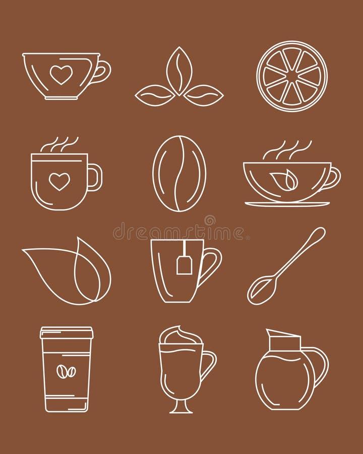 Icônes de café et de thé Illustration de vecteur illustration libre de droits