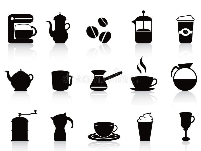 Icônes de café noir réglées illustration stock
