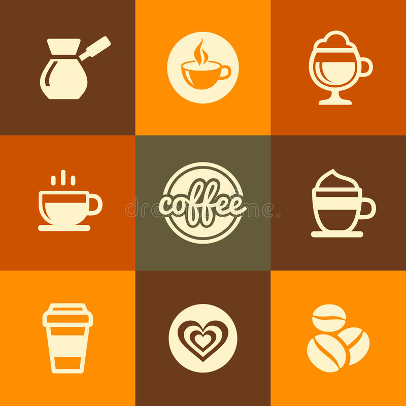 Icônes de café réglées dans le style plat de couleur de conception illustration stock
