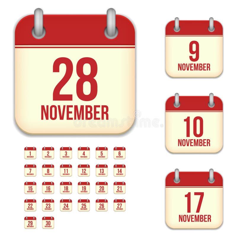 Icônes de calendrier de vecteur de novembre illustration stock