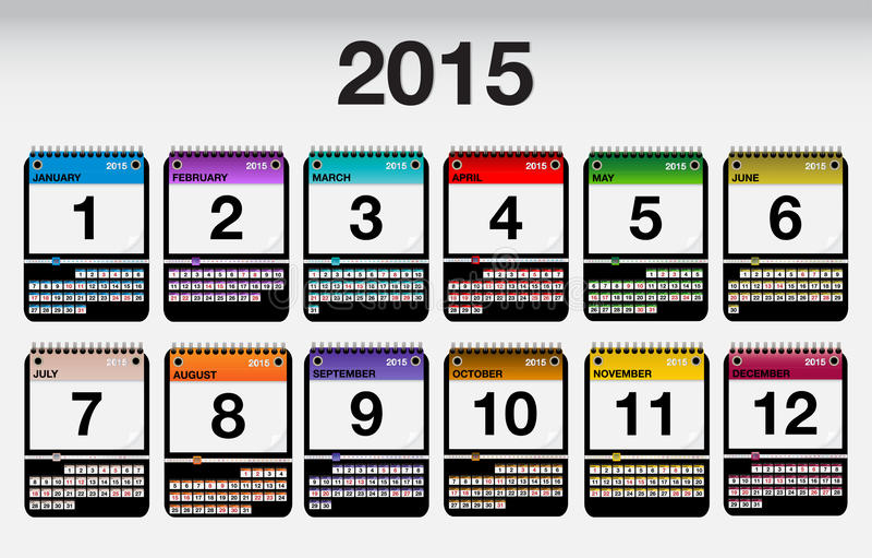2015 icônes de calendrier de vecteur réglées photo libre de droits