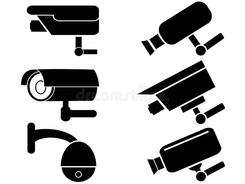 Icônes de caméra de sécurité de surveillance réglées illustration libre de droits
