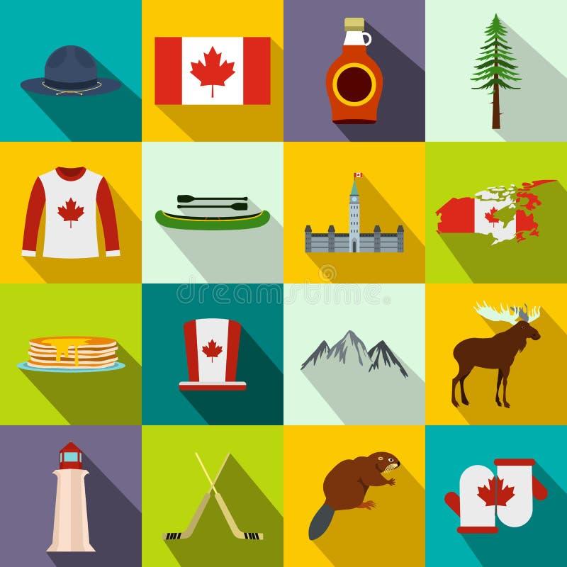 Icônes de Canada plates illustration libre de droits