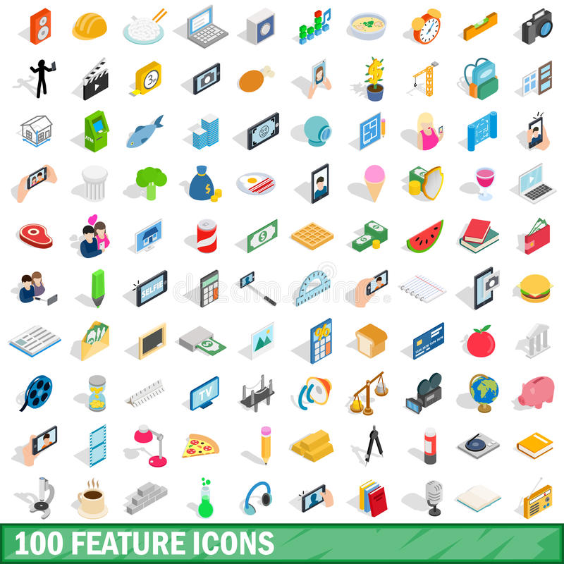100 icônes de caractéristique réglées, style 3d isométrique illustration de vecteur