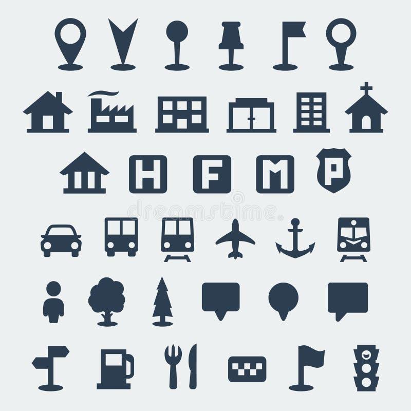 Icônes de carte de vecteur réglées illustration de vecteur