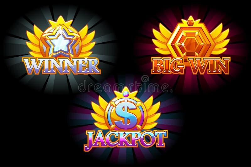 Ic?nes de casino Gagnant, gros lot et grande victoire Dirigez les pierres colorées de bijoux Récompenses avec des gemmes Capitaux illustration libre de droits
