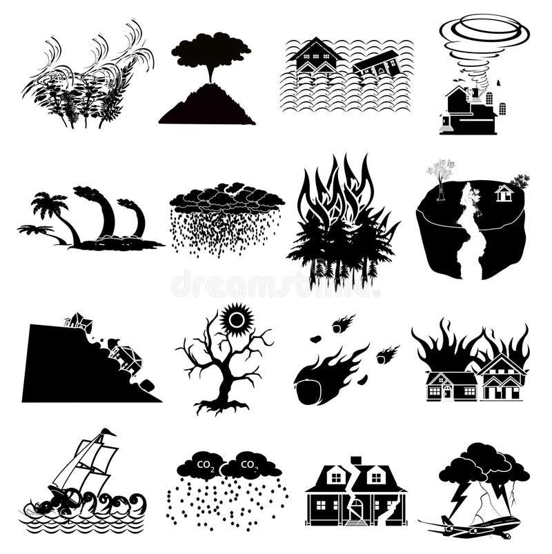 Icônes de catastrophe naturelle réglées illustration libre de droits