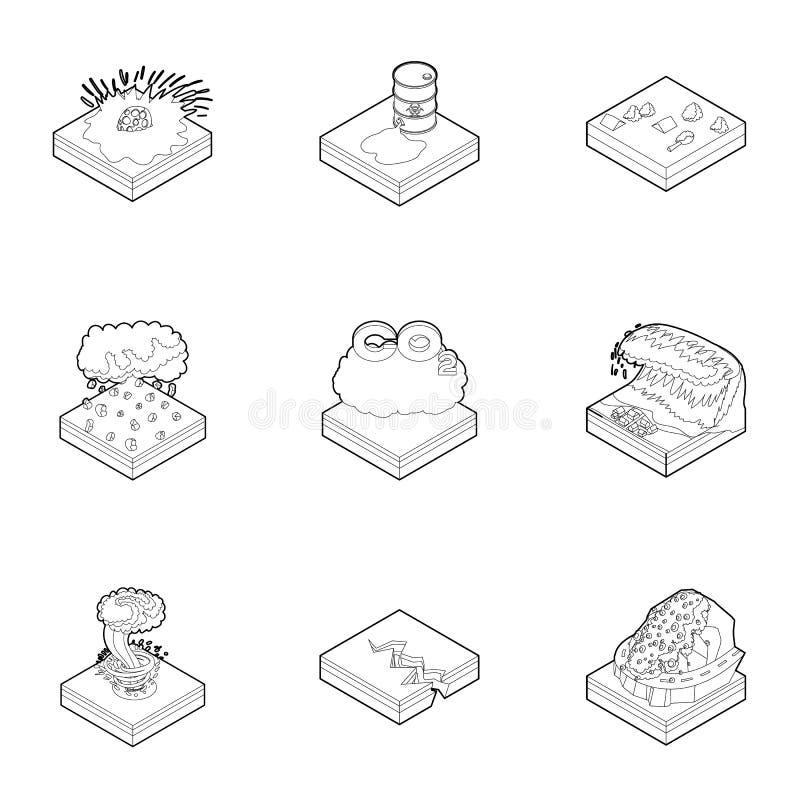 Icônes de catastrophe réglées, style d'ensemble illustration libre de droits