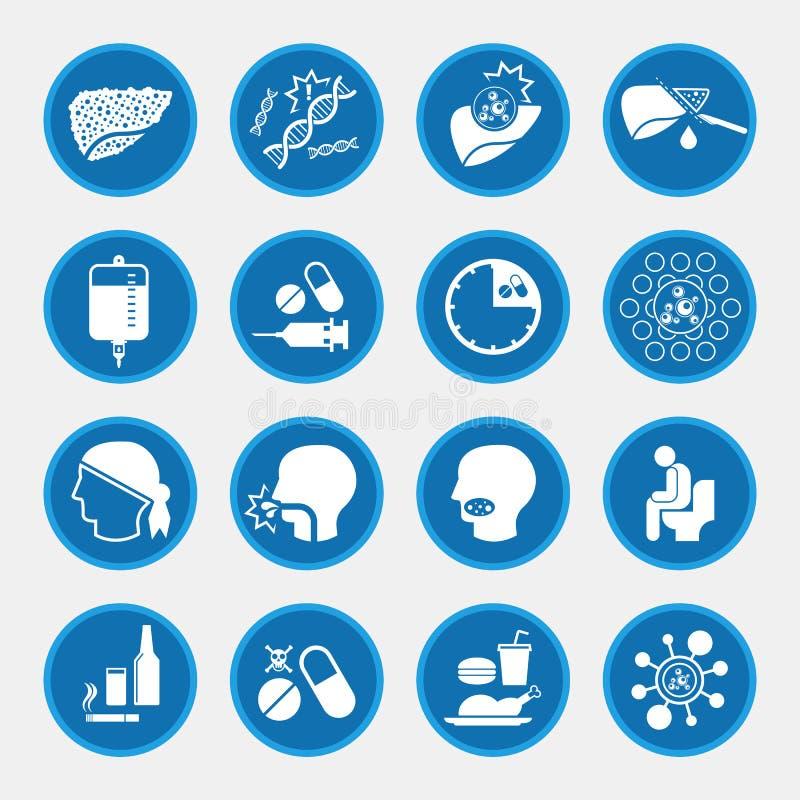 Icônes de cause et de traitement de cancer de foie illustration libre de droits