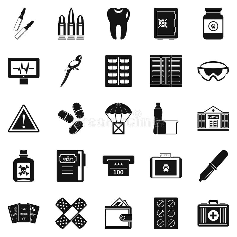 Icônes de cause réglées, style simple illustration libre de droits