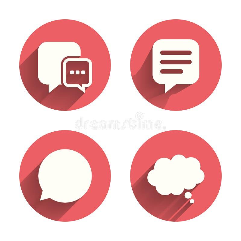 Icônes de causerie Signes comiques de bulle de la parole pensez illustration de vecteur