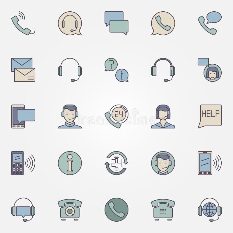 Icônes de centre d'appels réglées illustration de vecteur