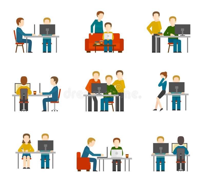 Icônes de centre de Coworking illustration de vecteur