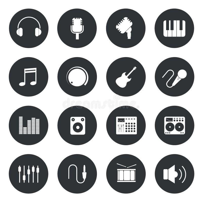 Icônes de cercle de musique illustration libre de droits