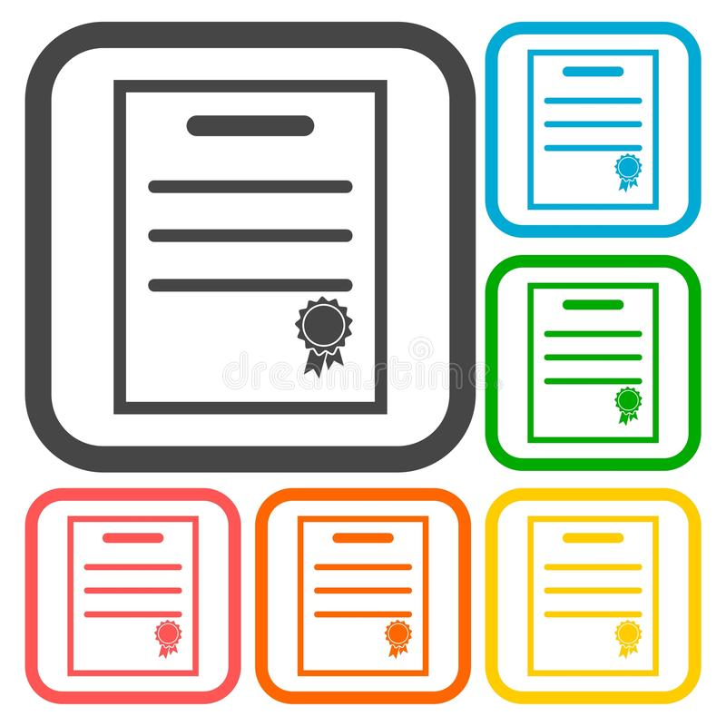 Icônes de certificat réglées illustration de vecteur