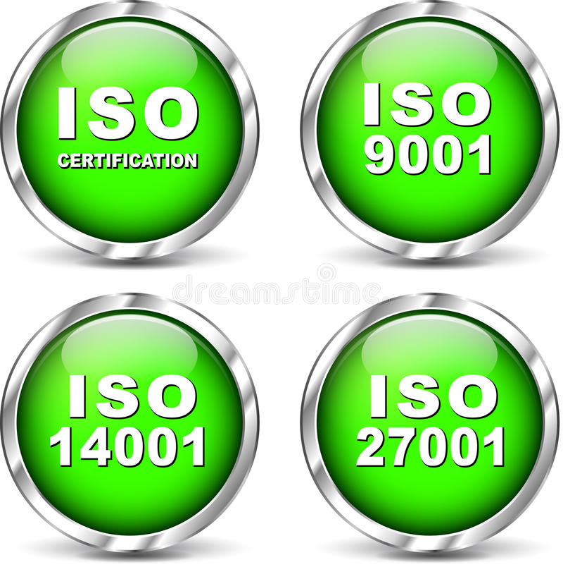 Icônes de certification d'OIN de vecteur illustration libre de droits