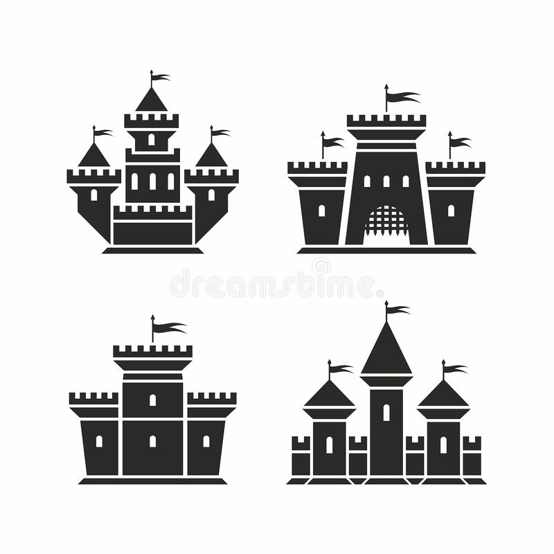 Icônes de château illustration stock