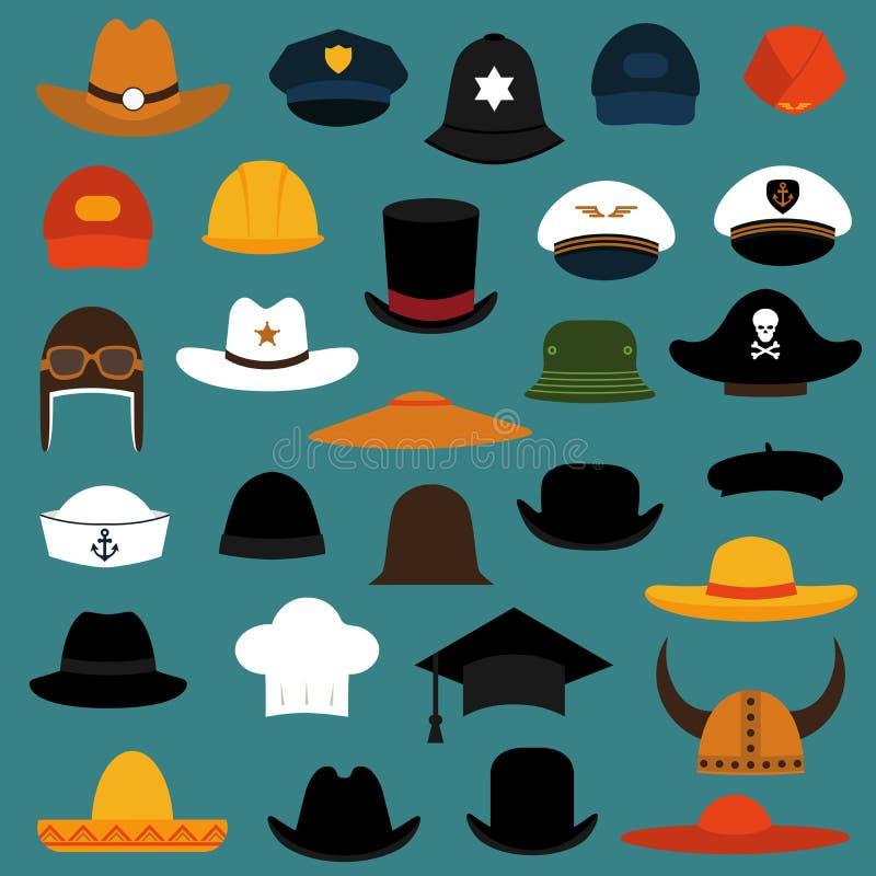 Icônes de chapeau et de chapeau illustration stock