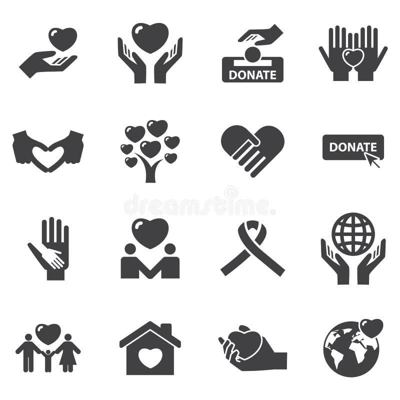 Icônes de charité et d'amour illustration libre de droits