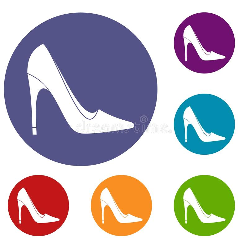 Icônes de chaussure de talon haut réglées illustration stock