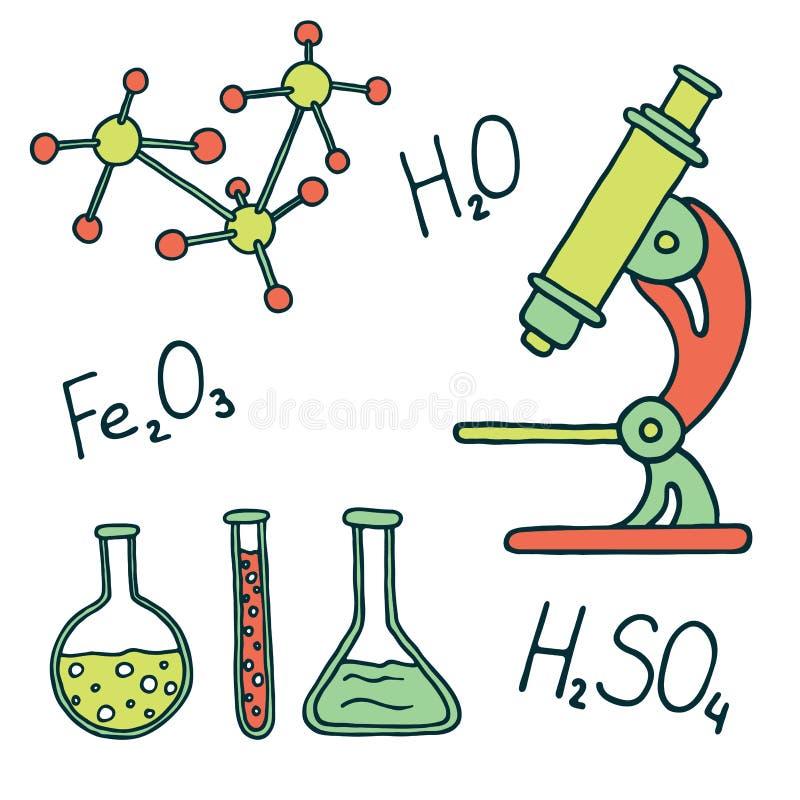 Icônes de chimie et de science illustration de vecteur