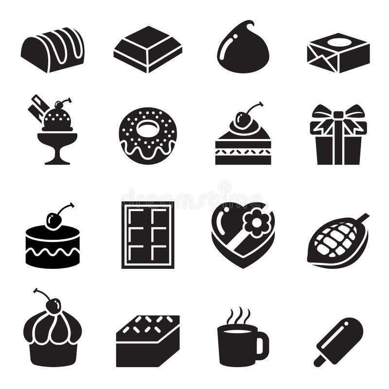 Icônes de chocolat illustration de vecteur