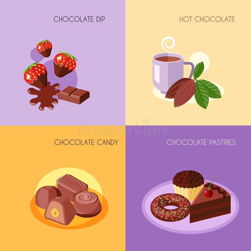 Icônes de chocolat plates illustration de vecteur