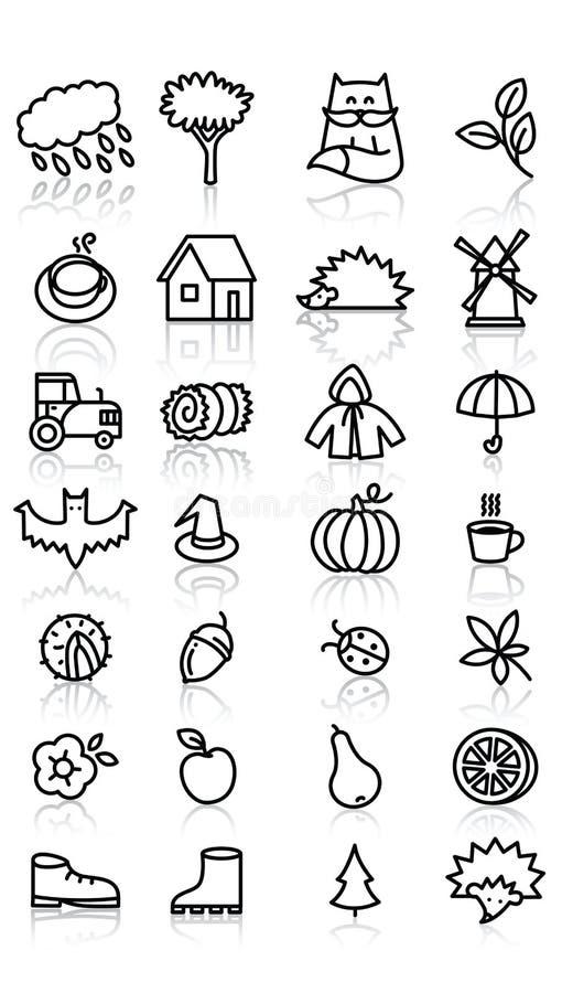 Icônes de chute illustration stock