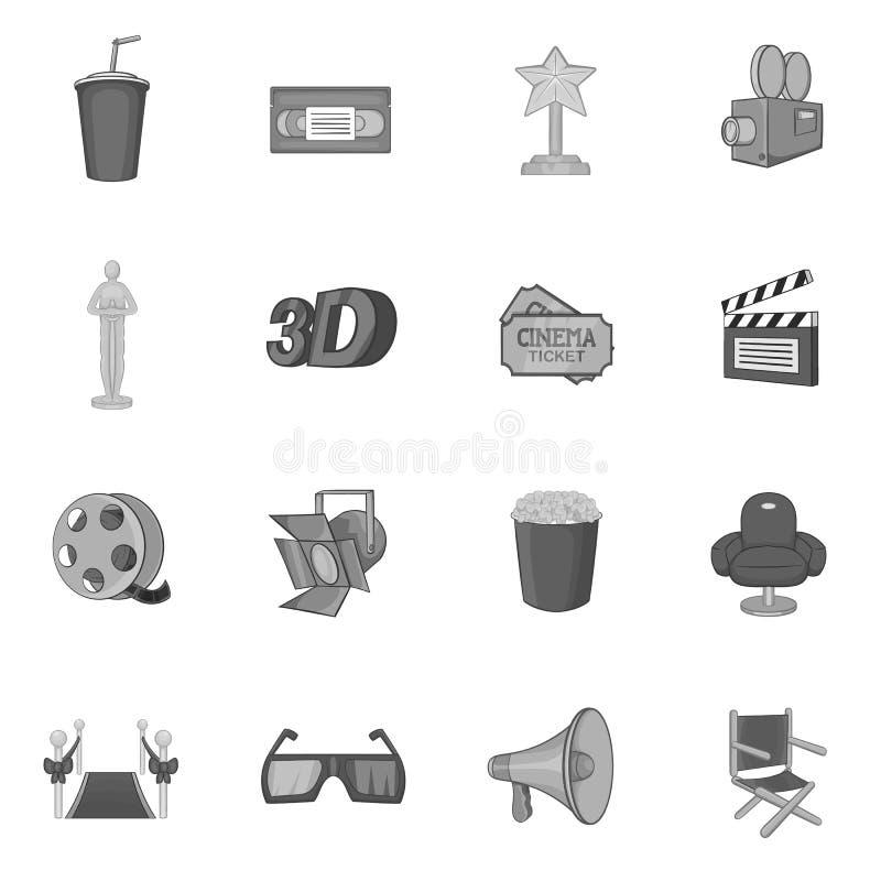 Icônes de cinéma réglées, style monochrome noir illustration de vecteur
