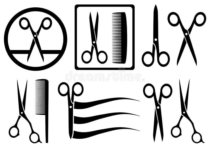 Icônes de ciseaux avec le peigne pour le salon de coiffure illustration de vecteur