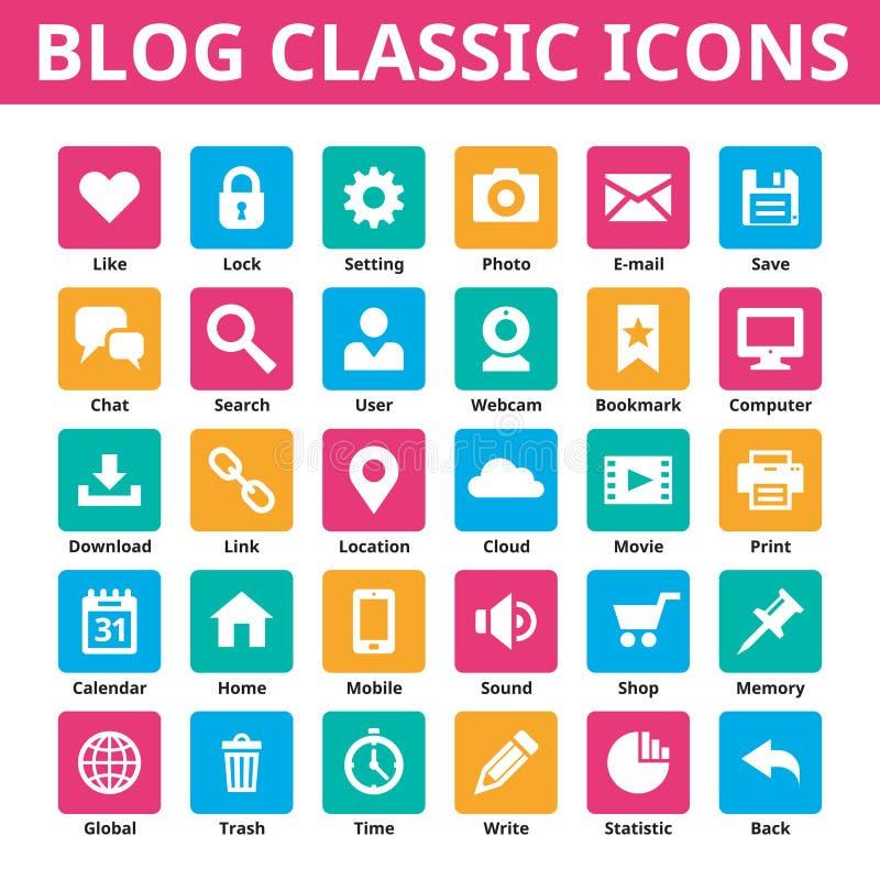 Icônes de classique de blog Les graphismes de vecteur ont placé Icônes minimales dans la couleur plate Icônes sociales de vecteur illustration de vecteur