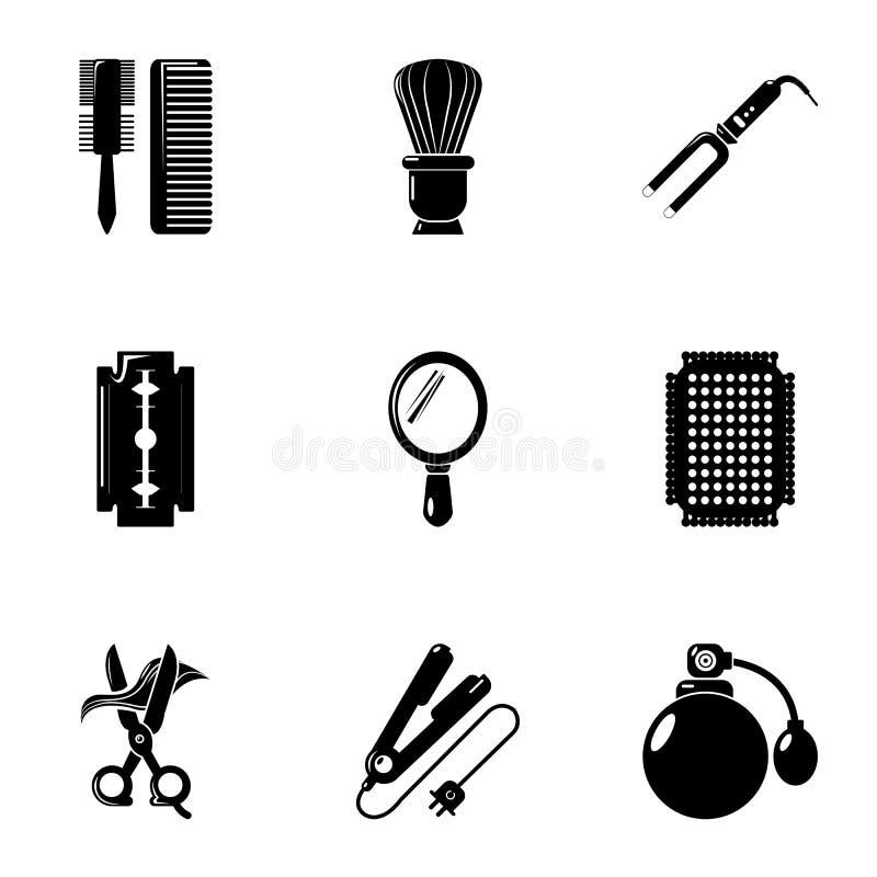 Icônes de coiffure réglées, style simple illustration stock
